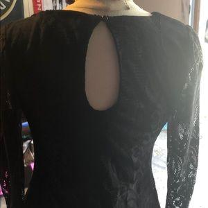 Charlotte Russe Dresses - Black Mesh Lace Criss Cross Lace Dress